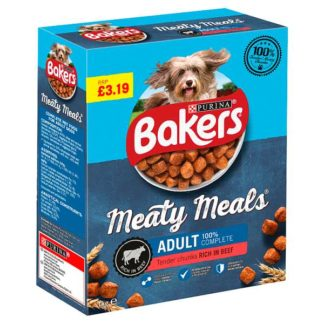 Bakers Meaty Meals Adult Dry Dog Food Beef 1kg (Case of 5)