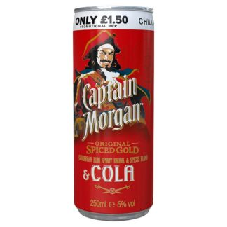 Captain Morgan Original Spiced Gold and Cola 250ml Ready to Drink Premix Can PMP £1.50 (Case of 12)