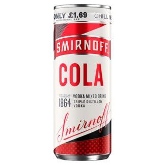 Smirnoff & Cola Vodka Mixed Drink 250ml PMP £1.69 (Case of 12)