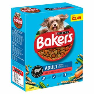 Bakers Adult Dry Dog Food Beef and Veg 1kg (Case of 5)