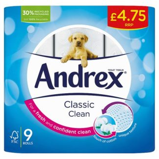 Andrex Classic Clean Toilet Tissue 9 Rolls (Case of 5)