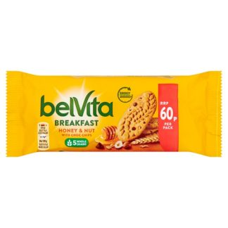 BelVita Breakfast Biscuits Honey and Nuts with Choc Chips 60p 50g (Case of 20)