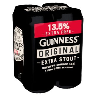 Guinness Original Extra Stout Extra Fill Beer 4 x 500ml Can (Case of 6)