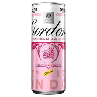 Gordon's Premium Pink Gin & Tonic 250ml Ready to Drink Premix Can PMP £1.69 (Case of 12)