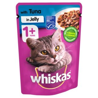 Whiskas Adult 1+ Wet Cat Food Pouches Tuna in Jelly 100g (Case of 24)