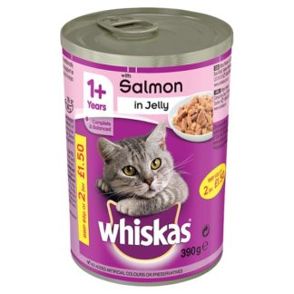 Whiskas 1+ Wet Cat Food Tin with Salmon in Jelly 390g (Case of 12)