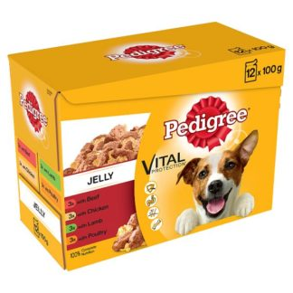 Pedigree Adult 1+ Wet Dog Food Pouches Mixed Selection in Jelly 12 x 100g (Case of 4)