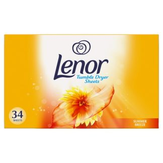 Lenor Fabric Tumble Dryer Sheets Summer Breeze 34 Sheets (Case of 12)