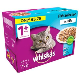 Whiskas Adult 1+ Wet Cat Food Pouches Fish in Jelly 12 x 100g (Case of 4)