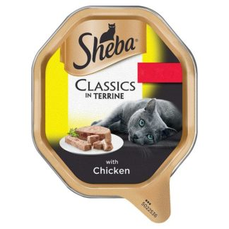 Sheba Classics Wet Cat Food Tray with Chicken in Terrine 85g (Case of 22)
