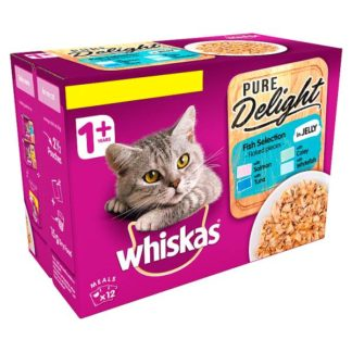 Whiskas Pure Delight Adult 1+ Wet Cat Food Pouches Fish Selection in Jelly 12 x 85g (Case of 4)