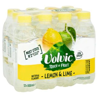Volvic Touch of Fruit Low Sugar Lemon & Lime Natural Flavoured Water 12 x 500ml (Case of 12)