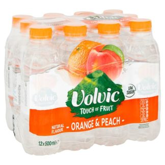 Volvic Touch of Fruit Low Sugar Orange & Peach Natural Flavoured Water 12 x 500ml (Case of 12)