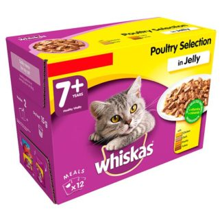 Whiskas Senior 7+ Wet Cat Food Pouches Poultry in Jelly 12 x 100g (Case of 4)