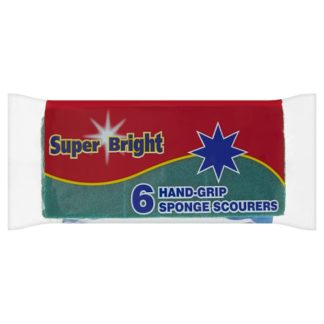 Super Bright 6 Hand-Grip Sponge Scourers (Case of 6)