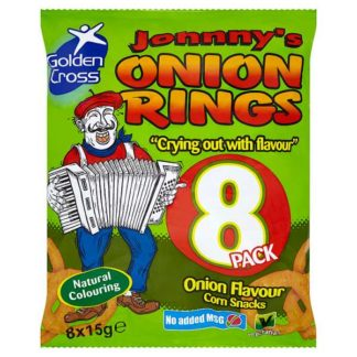 Golden Cross Johnny's Onion Rings Onion Flavour Maize Snacks 8 x 15g (Case of 12)