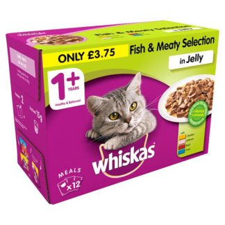 Whiskas Adult 1+ Wet Cat Food Pouches Fish and Meat in Jelly 12 x 100g (Case of 4)