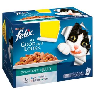 FELIX AS GOOD AS IT LOOKS OCEAN FEASTS Fish Selection in Jelly Wet Cat Food 12 x 100g PMP (Case of 4)