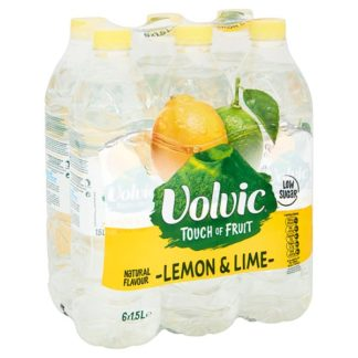 Volvic Touch of Fruit Low Sugar Lemon & Lime Natural Flavoured Water 6 x 1.5L (Case of 6)