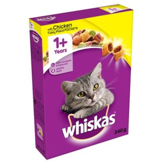 Whiskas 1+ Complete Dry Cat Food with Chicken 340g (Case of 6)