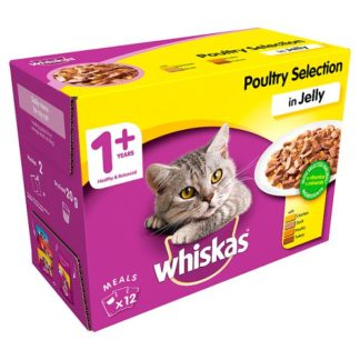 Whiskas Adult 1+ Wet Cat Food Pouches Poultry in Jelly 12 x 100g (Case of 4)