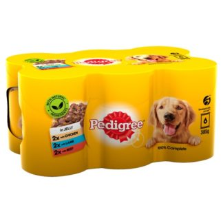 Pedigree Wet Dog Food Tins Mixed Selection in Jelly 6 x 385g (Case of 4)