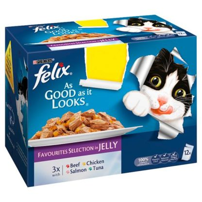 FELIX AS GOOD AS IT LOOKS Favourites Selection in Jelly Wet Cat Food 12x100g PMP (Case of 4)
