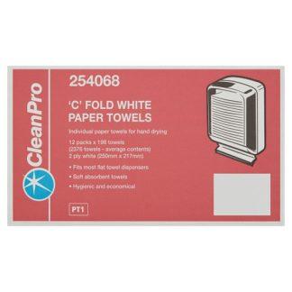 Clean Pro C Fold White Paper Towels