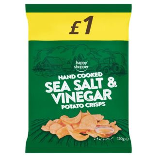 Happy Shopper Hand Cooked Sea Salt & Vinegar Potato Crisps 120g (Case of 16)