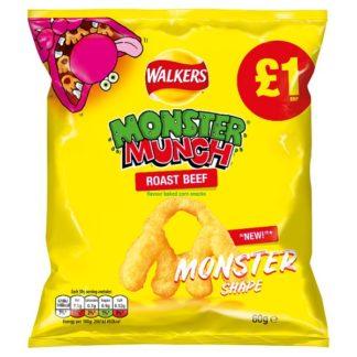 Walkers Monster Munch Roast Beef Snacks 60g (Case of 15)
