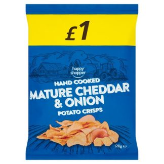 Happy Shopper Hand Cooked Mature Cheddar & Onion Potato Crisps 120g (Case of 16)