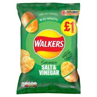 Walkers Salt & Vinegar Crisps £1 PMP 65g (Case of 15)
