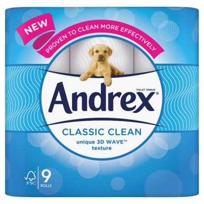 Andrex Classic Clean Toilet Tissue 9 Rolls x 5 200sc (Case of 5)