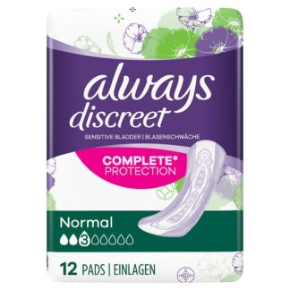 Always Discreet Incontinence Pads Normal For Sensitive Bladder x 12 (Case of 4)