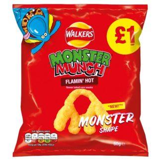 Walkers Monster Munch Flamin' Hot Snacks PMP 60g (Case of 15)