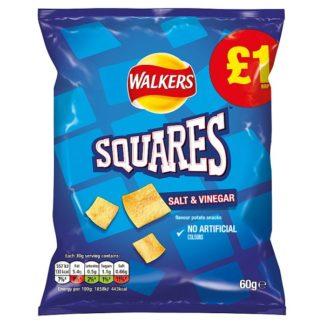 Walkers Squares Salt & Vinegar Snacks £1 PMP 60g (Case of 15)
