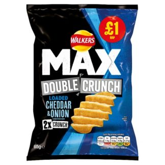 Walkers Max Double Crunch Loaded Cheddar & Onion Crisps £1 PMP 65g (Case of 15)