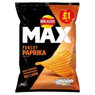 Walkers Max Punchy Paprika Crisps £1 PMP 70g (Case of 15)